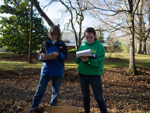 Caitlin and Jeanie collecting data